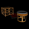 3D VRML meubles rotin table tabouret